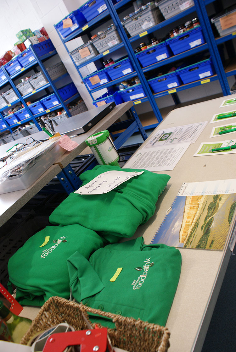 The Foodbank's promotional materials ready for dispatch!