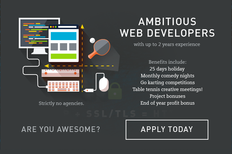 ambitious web developer required for our award-winning East Grinstead, Sussex based web team