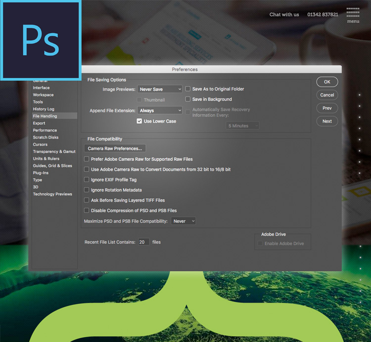 Adobe Photoshop file extensions are missing