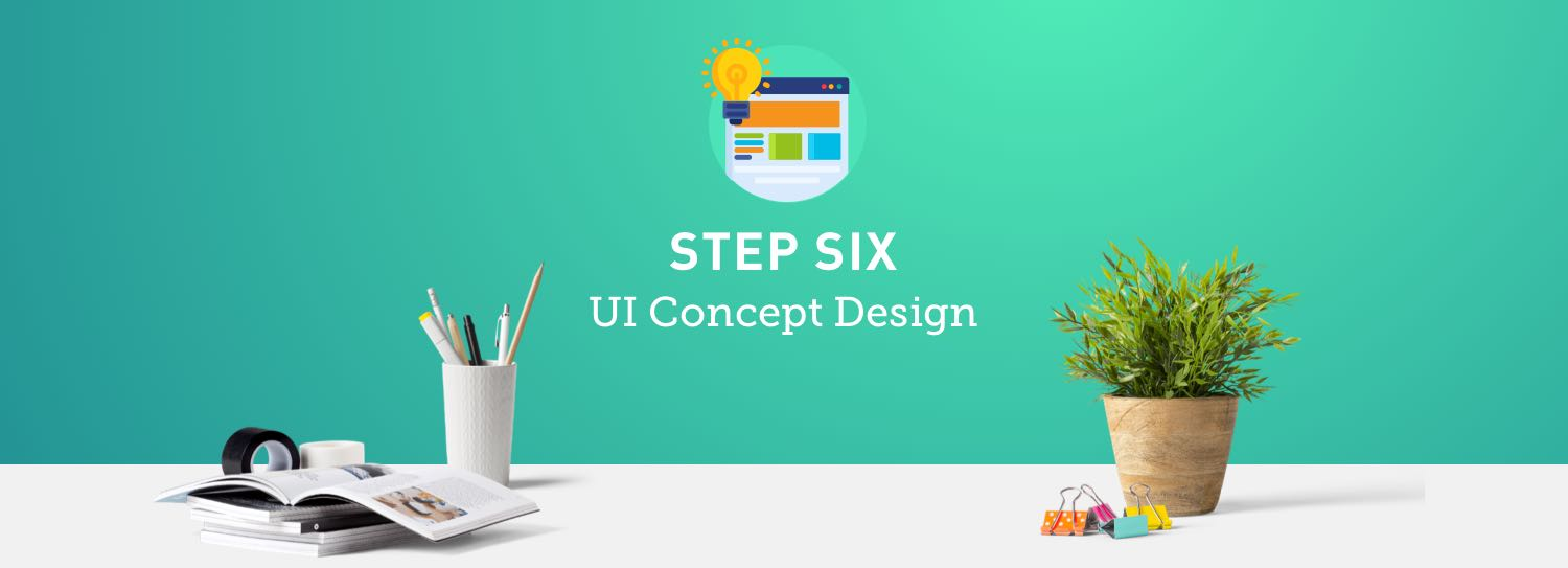 Website design process step six: UI concept design