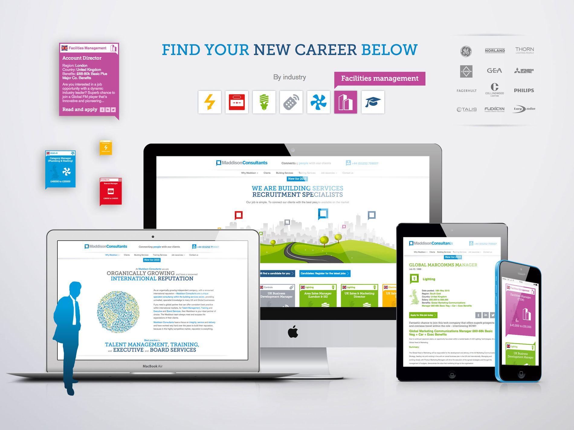 Recruitment company rebranding and responsive website