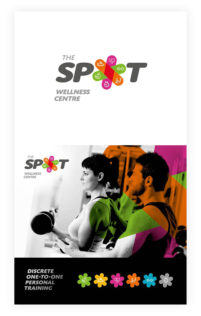 logo design for gym and fitness centre the spot, Godstone Surrey