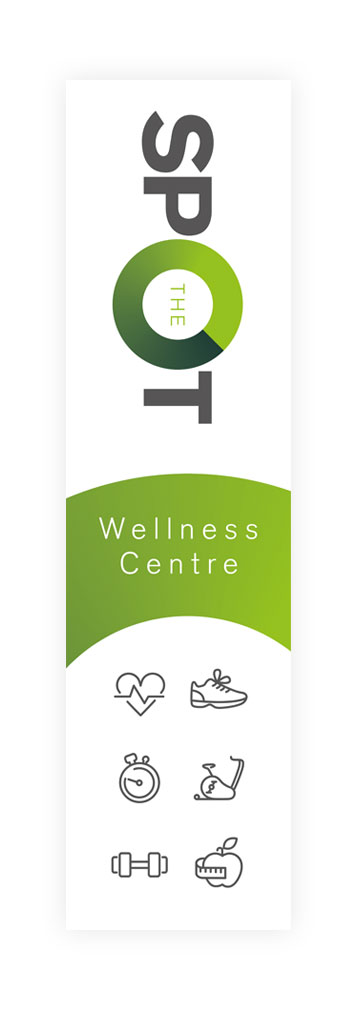 Concept brand logo on a flag for The Spot Wellness centre